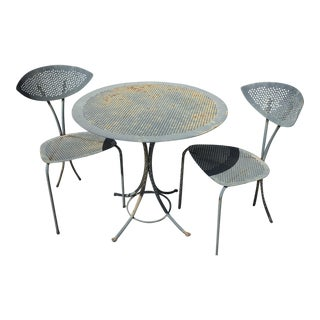 1990s Contemporary Wrought Iron Patio Table and Chairs - Set of 3