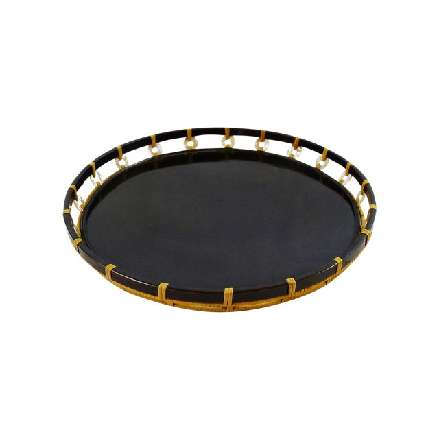 Vintage Black Lacquer Pearl & Bamboo Tray - Image 1 of 4