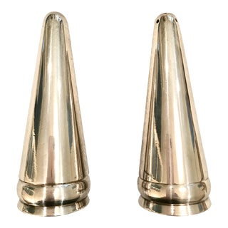 Modern Silver Plated Salt & Pepper Shakers - A Pair