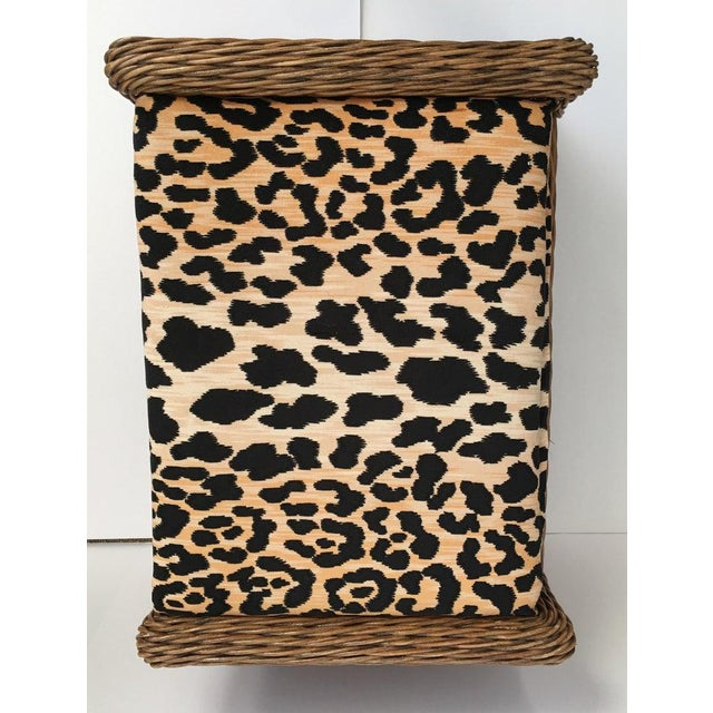 Sculptural Draped Wicker Bench With Animal Print Cushion For Sale In Philadelphia - Image 6 of 9