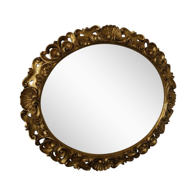 Antique Italian Rococo Style Giltwood Carved Oval Wall Mirror - Image 1 of 10