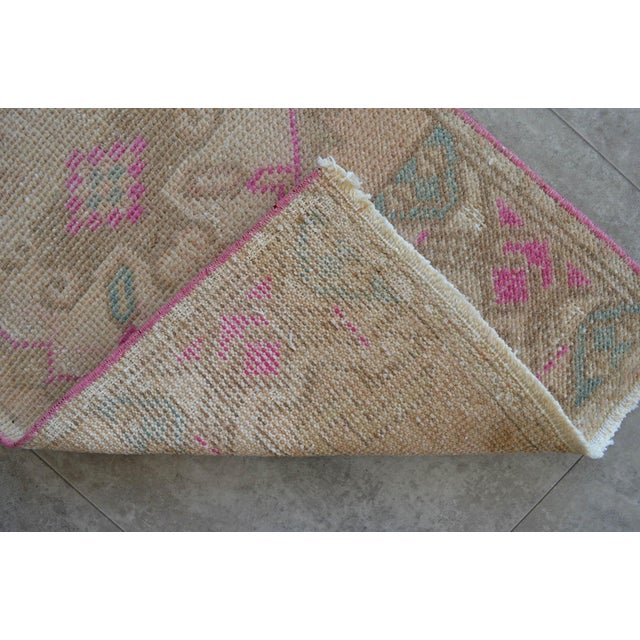 1970s Distressed Low Pile Turkish Yastik Rug For Sale - Image 5 of 6