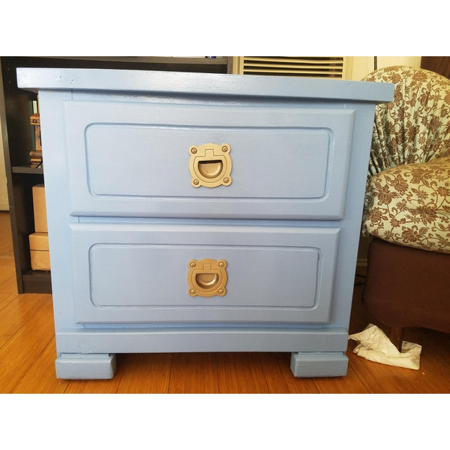 Nautical Handpainted Light Blue Nightstands - a Pair For Sale - Image 3 of 6