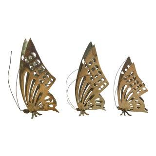 Vintage Brass Butterflies - Set of 3 For Sale