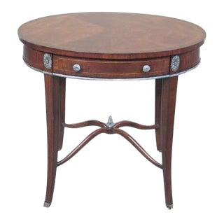 Maitland Smith #8112-32 Oval Mahogany 1 Drawer Occasional Table For Sale