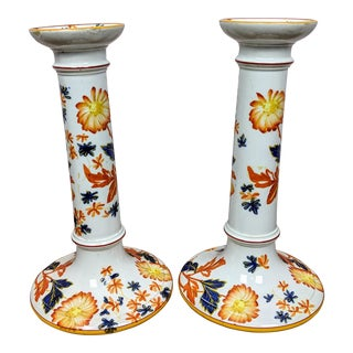 Antique Wedgwood Porcelain Hand Painted Candlesticks 1881 - A Pair For Sale