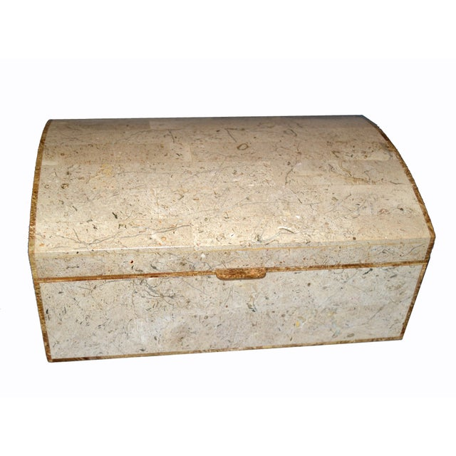 Maitland Smith Vintage Beige Tessellated Stone and Onyx Decorative Jewelry Box For Sale In Miami - Image 6 of 13