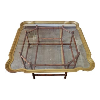 Chinese Brass & Glass Top Faux Bamboo Wood Coffee Table For Sale