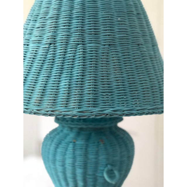 Blue Wicker Urn Lamp and Shade For Sale - Image 4 of 9