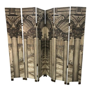 Mid-Century Italian Architectural 6 Panel Room Screen For Sale