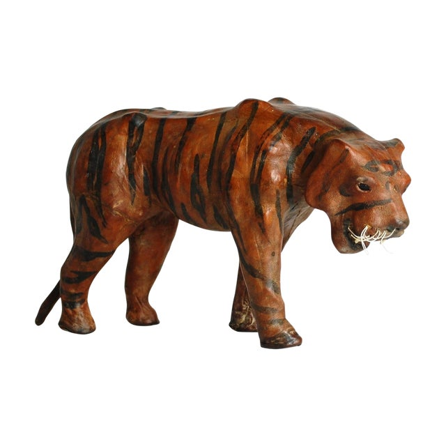 Mid Century Leather Tiger Sculpture - Image 1 of 6