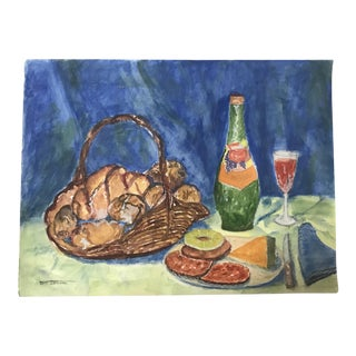Signed Bread and Wine Still Life Painting