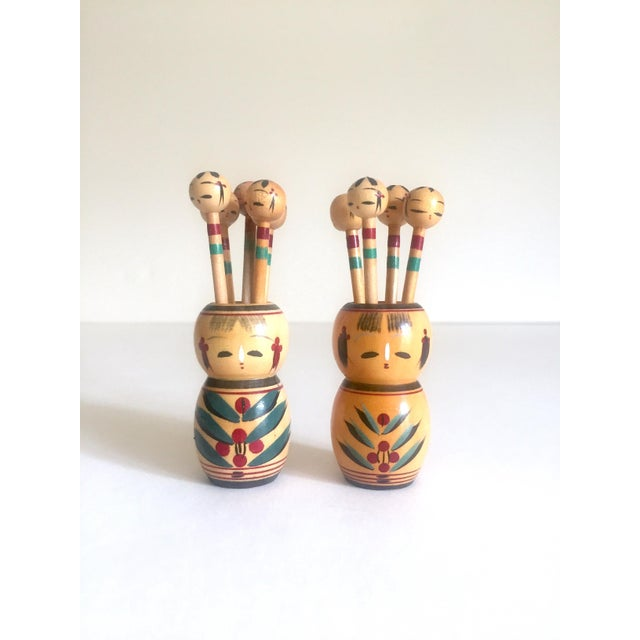 Green Vintage Mid Century Japan Rare Kokeshi Hand Painted Wood Hors d'Oeuvre Picks / Cocktail Skewers - 11pc Set For Sale - Image 8 of 13