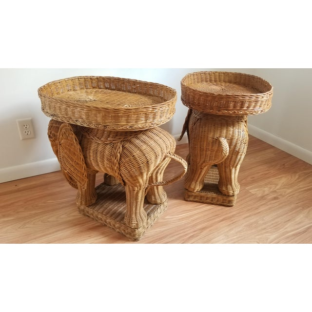 Rattan 1960s Boho Chic Woven Elephant Tray Tables - a Pair For Sale - Image 7 of 10