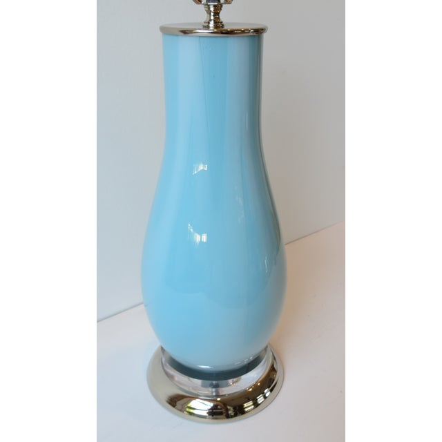 Pale Blue & White Swirl Glass Table Lamp - Image 3 of 6