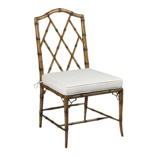 Modern Faux Bamboo Side Chair For Sale