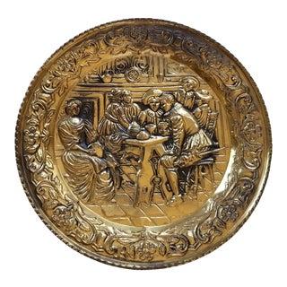 English Pub Scene Hammered Brass Plate