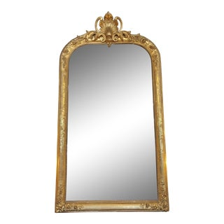1850s Antique French Louis XV Gilt Mirror For Sale