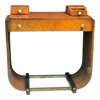 Paul Frankl Style Art Deco U-Base Wood & Nickeled Bronze Console For Sale