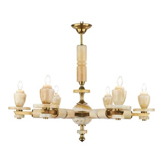 Vintage Italian Brass Onyx Chandelier For Sale