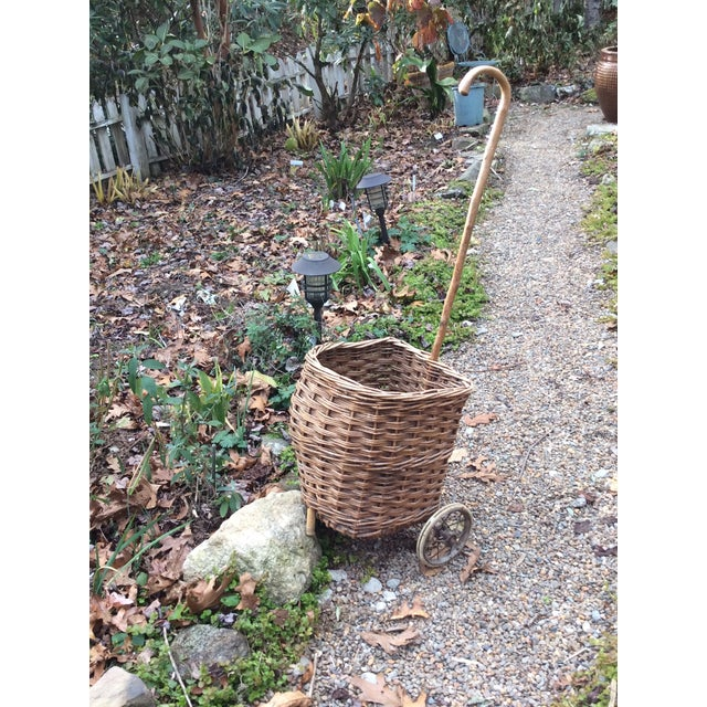 Vintage French Woven Shopping Cart on Wheels For Sale - Image 12 of 12