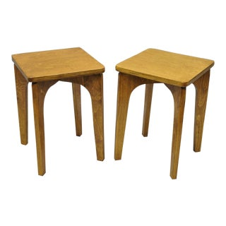 Vintage Mid Century Russian Laminated Plywood Accent Side Tables- A Pair For Sale