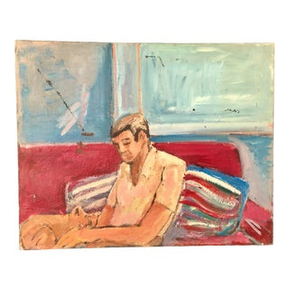 "Mid-Century ""Man With Cat and Striped Pillow"" Painting For Sale"