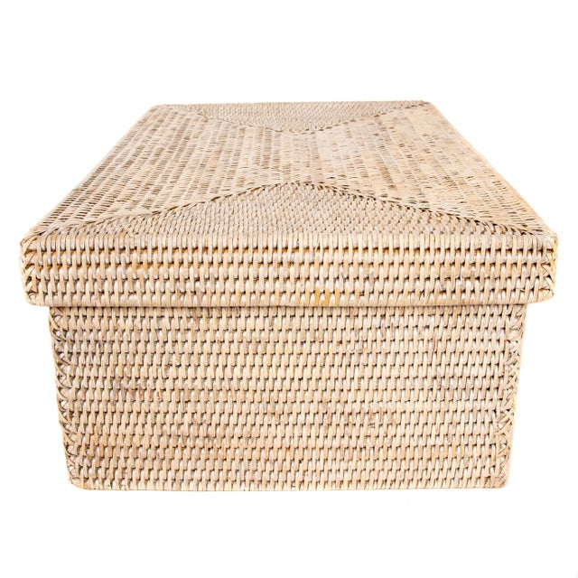 Boho Chic Artifacts Rattan Rectangular Storage Box With Lid For Sale - Image 3 of 6