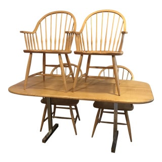 Pompanoosuc Mills Country Modern Dining Table & Chairs For Sale