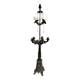 Large Brass 5 Candleabra & 2 Electric Bulbs Table Lamp For Sale