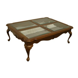 Georgian Ethan Allen Court Solid Cherry Glass Paneled Accent Coffee Table For Sale