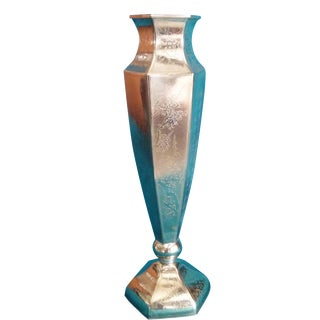 Inscribed Tall Silver Pedestal Vase For Sale