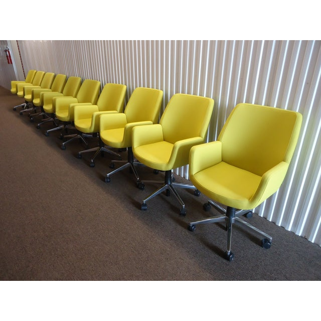 Metal Brian Kane by Coalesse & Steelcase Modern Bindu Yellow Executive Conference Chair For Sale - Image 7 of 13