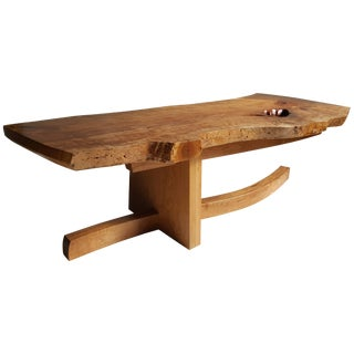 Modernist Live-Edge Figured Cherrywood Coffee Table Griff Logan For Sale