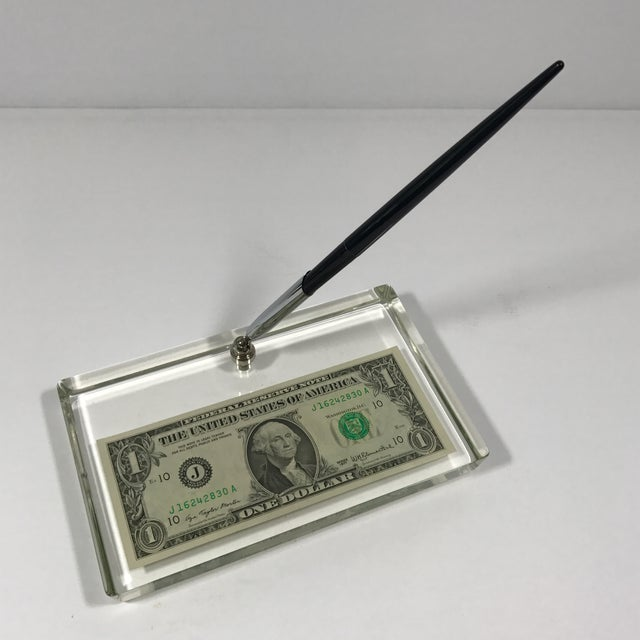 Vintage Dollar Bill Lucite Pen Holder - Image 2 of 11