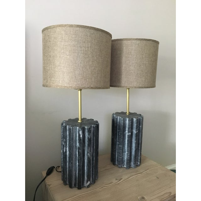 Black Marble Modern Table Lamps - a Pair - Image 6 of 7