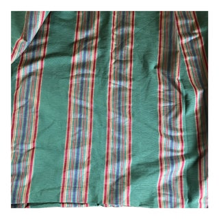 Green Striped Upholstery Fabric Remnant - 10+ Yards For Sale