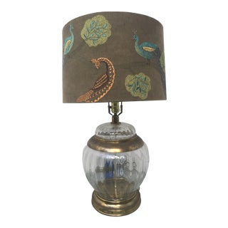 Karl Springer Style Brass and Glass Vintage Table Lamp For Sale