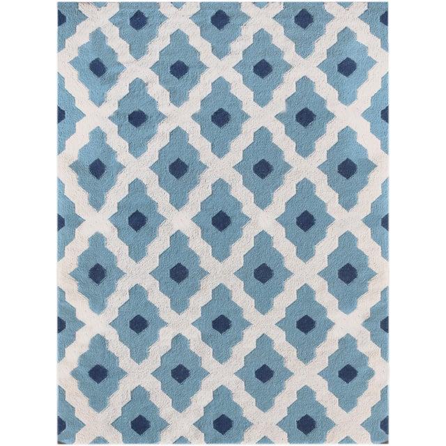 Zara Trellis Light Blue Flat-Weave Rug 8'x10' For Sale - Image 4 of 4