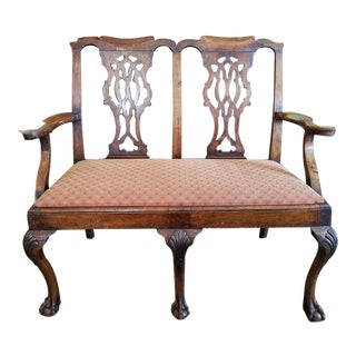 Irish George II Chippendale Mahogany Double Chairback Settee - Highly Important For Sale