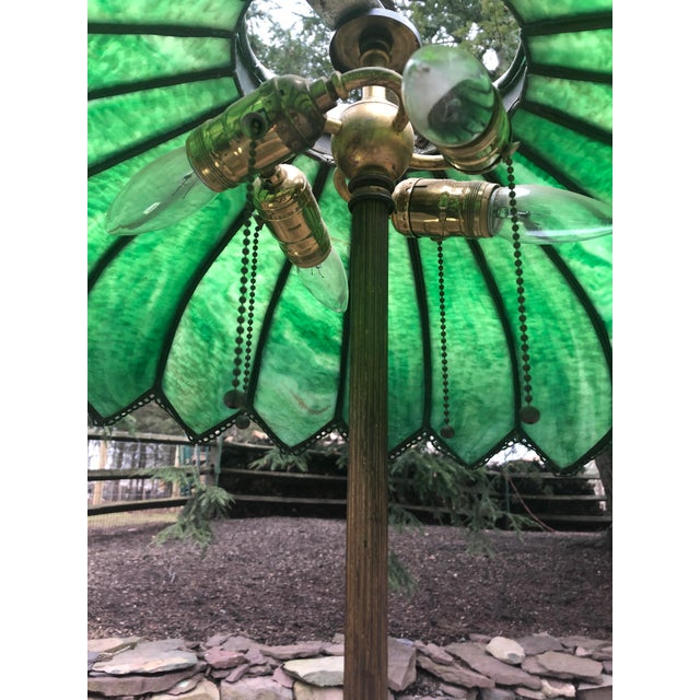 Traditional Vintage Green Leaded Glass and Brass Large Table Lamp For Sale - Image 3 of 11