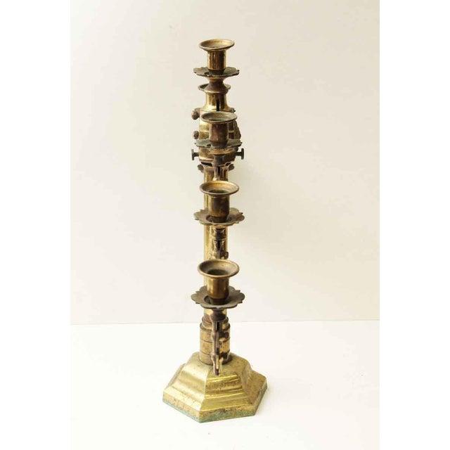 Religious Single Seven Light Brass Candelabra For Sale - Image 3 of 7
