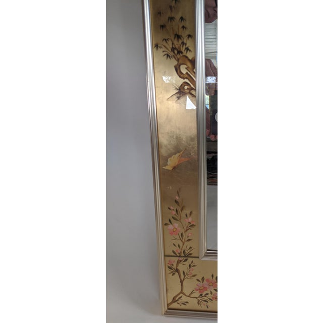 1960s La Barge Chinoiserie Reverse Hand Painted Eglomise Mirror For Sale - Image 5 of 12