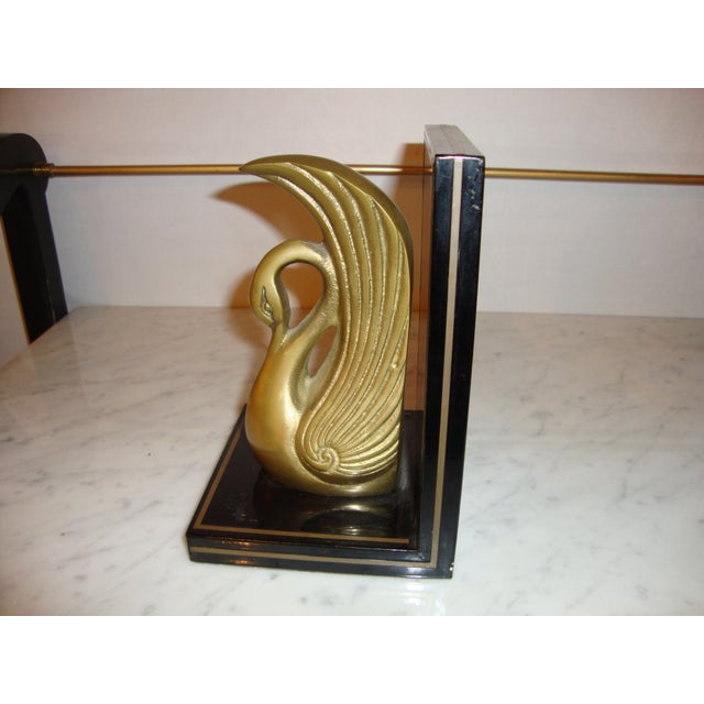 Metal Art Deco Swan Book Ends - A Pair For Sale - Image 7 of 7