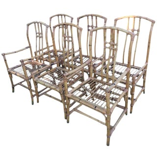 Mid-Century Chinese Export Bamboo and Rattan Dining Chairs - Set of 6