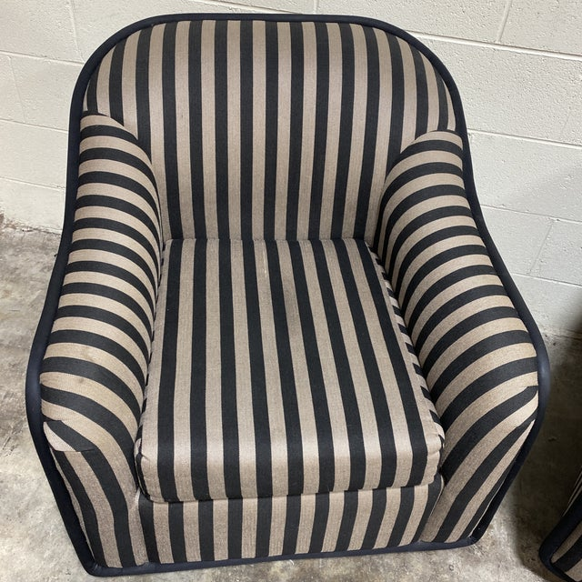 """""""Fendi"""" Striped Club Chair's - a Pair For Sale - Image 4 of 12"""