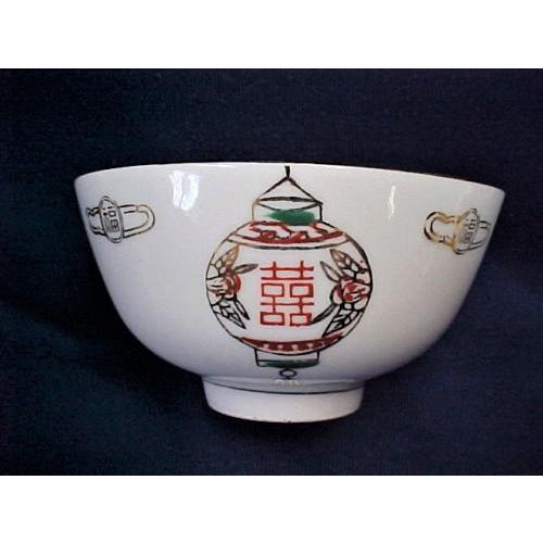 Taiwanese rice/soup bowls (set of 7) These porcelain bowls are decorated with two different kinds of lanterns on a white...