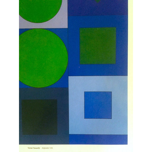 "Blue Victor Vasarely Vintage Op Art Modernist Geometric Lithograph Print "" Alphabet v.b. "" 1960 For Sale - Image 8 of 13"