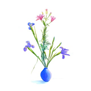 Contemporary Drawing, Bouquet of Iris and Pink Flowers by Humbert Cur For Sale