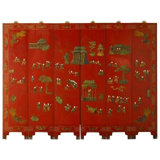 Chinese Hard-Stone & Red Lacquer Screen